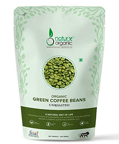 Naturx Organic Green Coffee Beans Your Natural Immunity Booster and Weight Loss Partner: 425 Gram Pack