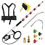 jOYjOB Pressure Washer Extension Wand 18FT with Brush Attachment Nozzle Tips Belt Harness and Gutter Cleaner,Commercial Grade Telescoping Pressure Washer Wand