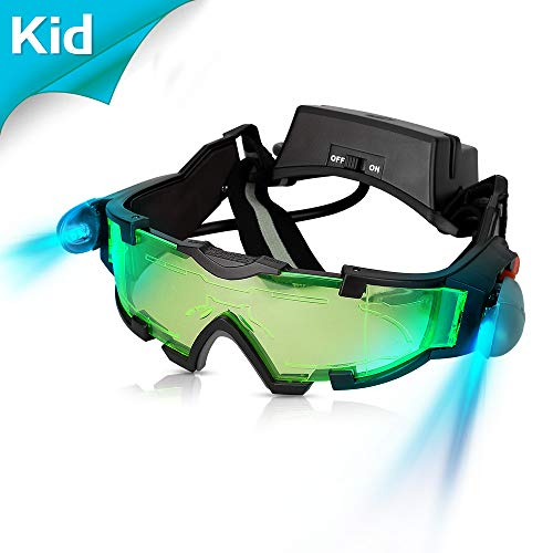 Kids Night Vision Goggles, Adjustable Spy Gear Night Mission Goggles with Flip-Out Lights Green Lens