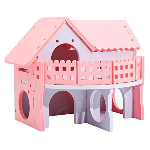 Hamster Haus aus Holz Hamster Hideout Haus zwei Schichten Leben Hut Kleintier Übung Lustige Nest Spiel kaut Spielzeug Cages Pens (Farbe: Foto-Farbe, Größe: 17x15x15.5cm) ZHANGKANG