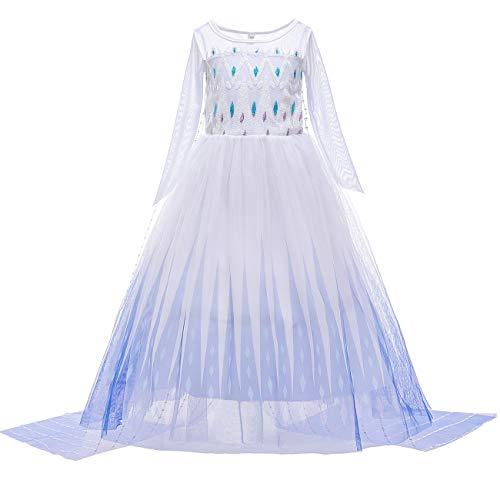 O.AMBW Elsa Disfraz niña Princesa Vestido Nieve Reina 2 Vestir Halloween Navidad...