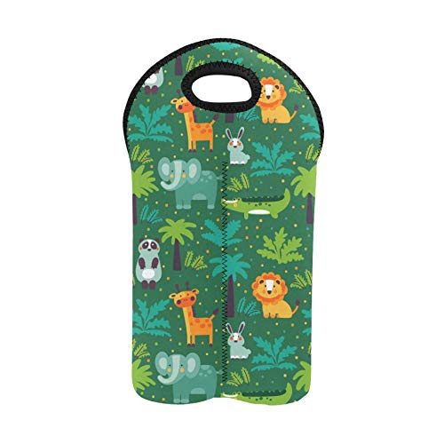 Reusable Wine Bags Cute Cartoon Fun Zoo Animal Flower Leaf Wine Carriers and Totes Double Bottle Carrier Picnic Wine Bag Thick Neoprene Wine Bottle Holder Keeps Bottles Protected