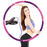 Aenamer Hula Hoops for Children Adults - Weighted Hula Hoops Detachable, Travel Fitness Hoops (1.4kg/100cm) with Skipping Rope for Exercise Dance Fat Burning