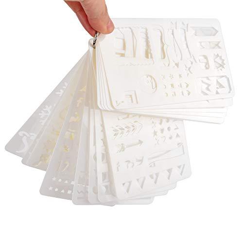 ewtshop® Plantillas para Bullet Journal, Manual, Manualidades, 36 placas de plantillas, patrón, flechas, letras UVM.