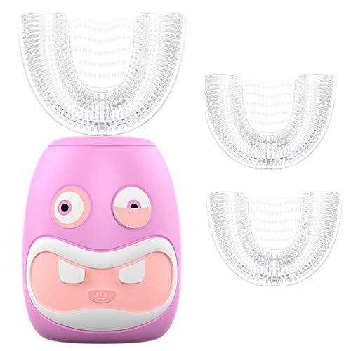 Futureyun - Spazzolino elettrico ricaricabile per bambini, spazzolino elettrico a forma di U, spazzolino elettrico Sonic, per bambini da 2 a 6 anni, colore: rosa
