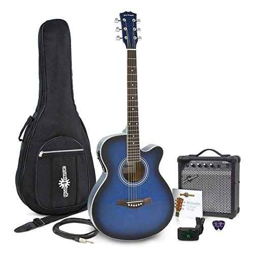 Pack avec Guitare Electro-Acoustique a Pan Coupe et Ampli 15 W par Gear4music Blue