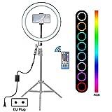 Phone stativ lang 12-Zoll-dimmbare LED-Ring Vlogging Selfie Fotografie Videoleuchten mit Cold Shoe Stativ-Kugelkopf & Phone Clamp (US-Stecker) (Color : EU Plug) -