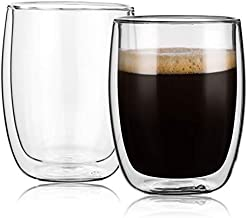 Double Wall Glass Coffee Mugs 8.5oz-Set of 2,Insulated Clear Tea Cups,Perfect for Cappuccino,Latte,Espresso