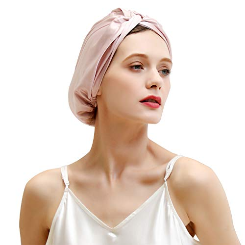 ZIMASILK 22 Momme 100% Mulberry Silk Sleep Cap for Women Hair Care,Natural Silk Night Bonnet with Elastic Stay On Head (1Pc, Pink)