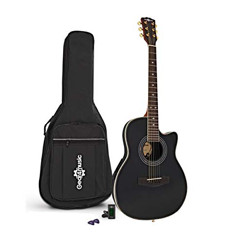 Roundback Electro Acoustic Guitar by Gear4music, Black with Gig Bag, Tuner...