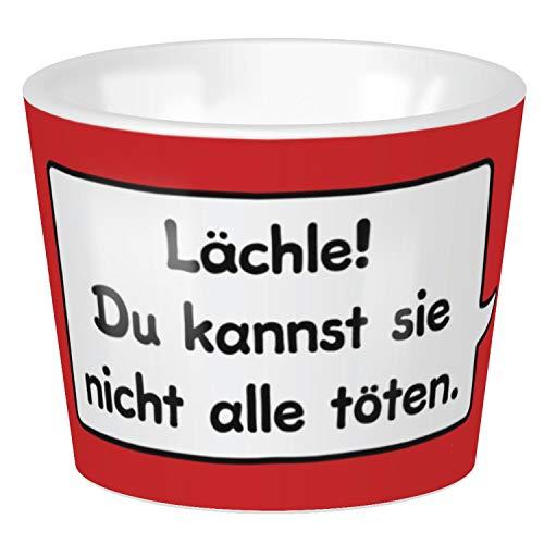 Sheepworld - 45377 - Eierbecher, Schaf, Lächle! Du kannst sie nicht alle töten., 4cm x 5cm, Porzellan, spülmaschinengeeignet