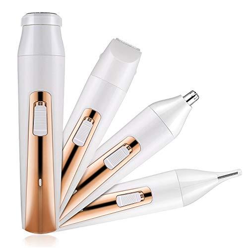 Czemo Depiladora Electrica Mujer Facial Recortadora 4 en 1 Afeitadora Maquinilla Impermeable para Cara, Cejas, Piernas, Nariz, Bikini con Usb Cargador