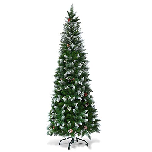 Goplus Artificial Pencil Christmas Tree, Snow Flocked with Pine Cones and Metal Stand, for Xmas Indoor and Outdoor Décor (7.5ft)