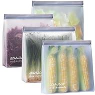 Stand-Up Reusable Gallon Freezer Bags (1 Gallon, Set of 4) - Leakproof Ziplock Reusable Storage Bags for Sandwich, Snack, Meat, Vegetables, Fruit etc.