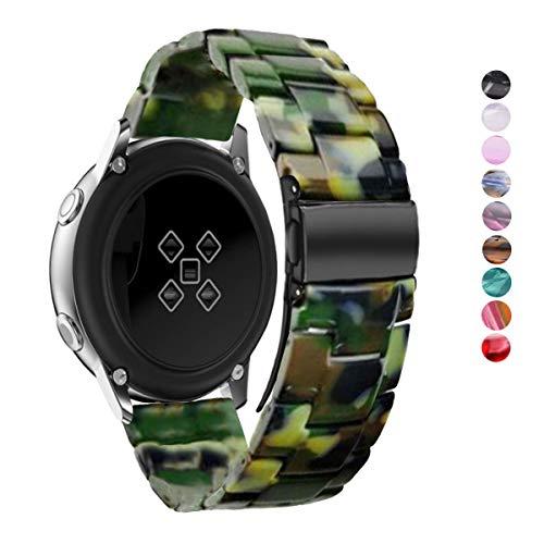 DEALELE Correa Compatible con Galaxy Watch 42mm / Active/Active 2 40mm 44mm, Reemplazo de Correa de Resina Colorida 20mm para Samsung Gear Sport/Huawei Watch GT2 42mm, Camuflaje Verde