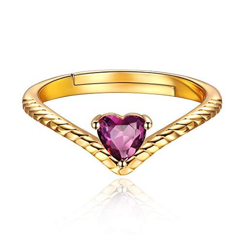 ChicSilver 12 Monate Geburtstagsserie Juni Alexandrit, Damen-Ring offen 925 Silber rhodiniert Zirkonia weiß …