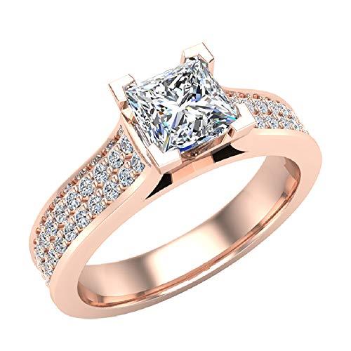 Glitz Design Mujer Niños Hombre Unisex oro 14 quilates (585) oro rosa princess-shape round-brilliant-shape J-K Diamond