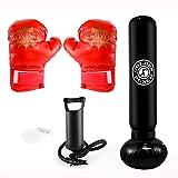 Sac de Boxe,Sac Gonflable de Poinçonnage Tour Sac Colonne de Punching Ball,Punching...