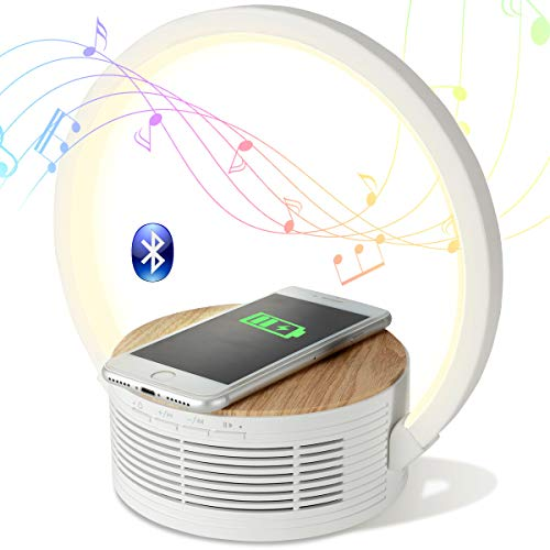 Bluetooth Speaker Wireless Charger with Desk Lamp Bedside Night Light Portable Small Mini Speaker, Led Reading Adjustable Dimmable Table Lamp for Home Office, Dorm, Kids, Students, Boys, Girls Gift