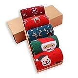LIKERAINY Frauen Dame Weihnachten Socken Weich Elastisch Mehrfarbig Standardgröße 5 Paar