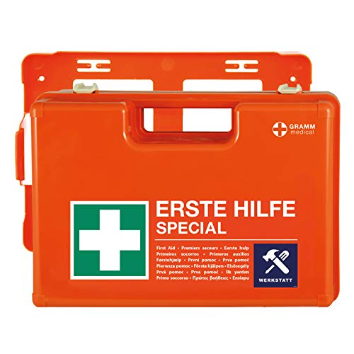 ACTIOMEDIC Botiquín de primeros auxilios, DIN 13 157, maletín de emergencia con soporte de pared, texto en varios idiomas, naranja, 42 x 33 x 15 cm