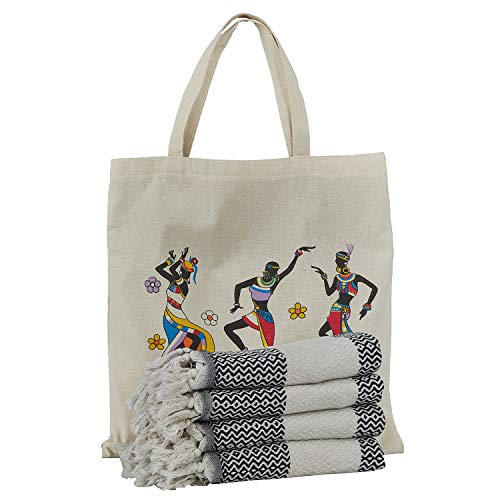"Capital Of Towel Turkish Hand Towel Set of 4 Diamond Peshtemal Towel and Bag 100% Cotton 39.5"" x 16.5"" Quick Dry Hand Hair Gym Face Bath Tea Kitchen Dishcloth Set Decorative Bathroom Towel (Black, 1)"