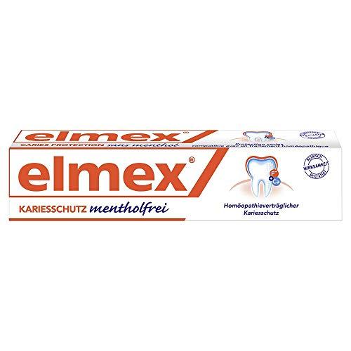 elmex Zahnpasta mentholfrei, 75ml - Zahncreme zum Schutz vor Karies, ohne Menthol und ätherische Öle, mit fruchtig aromatisierten Geschmack