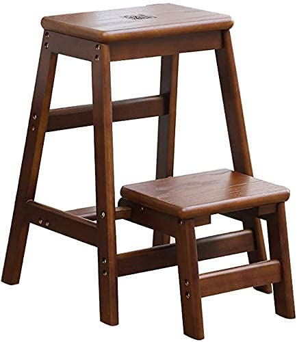 LXDZXY Stools,Folding Step Ladder Wooden Step Stool for Household &Amp; Office &Amp; Kitchen Lightweight Stepladders Portable Step Stool Storage Shelf or Flower Stand Adults Step Ladder,Brown,59X41X3