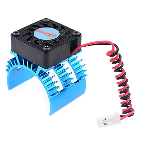 GLASSNOBLE Cooling Fan,RC Cooling Fan Metal RC Motor Heat Sink for 1/10 1/8 RC Car Upgraded Durable Modified Vehicle Supplies Accessories Blue