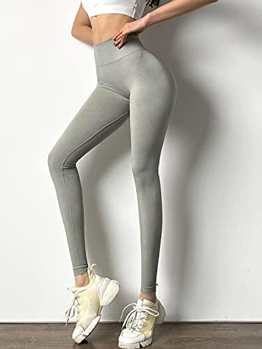 MLLM Piernas Pantalones Anchos Sólido,Pantalones de Ejercicio de Salud rápida, Pantalones de Yoga de Cadera Sexy-Gris Claro_M,No Transparenta Cintura Alta Pantalón