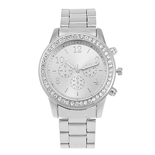 Yahunosu Reloj analógico de Pulsera de Mujeres Relojes de Acero Inoxidable Brazalete de Diamantes Relojes de Plata