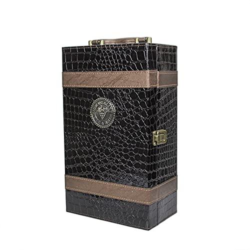 SGSDG Cuero De La PU Caja De Botella De Vino Dos Rejilla De Vino Estampado PortáTil Negro Caja de Vino Lujoso Caja de Regalo de Vino con 4 Accesorios para Sacacorchos De Vino