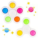 NiHealth 2PCS Bubble Fidget Spinner, Fidget Pack 2-in-1 Multicolor Push Pop Sensory Hand Toy High-Speed Rotation Stress Reducer Relief Relax Anti-Anxiety Finger Spinner for Kids Adults (White Frame)