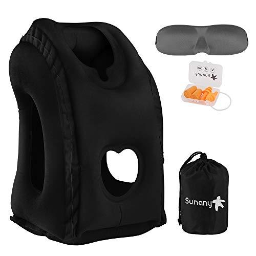 Sunany Almohada inflable para el cuello utilizada para aviones / automóviles / autobuses / trenes / siestas en la oficina con máscara para los ojos / tapones para los oídos gratis (negro)