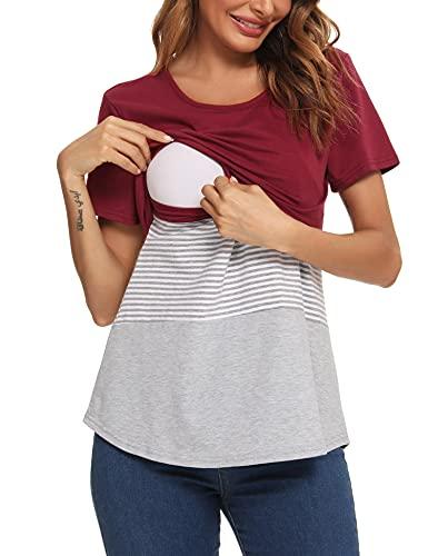 Akalnny Camisa de Lactancia Algodón Verano Amamantar Mujer Manga Corta Rayas Ropa de Premamá Mujer Algodón Camiseta de Embarazada