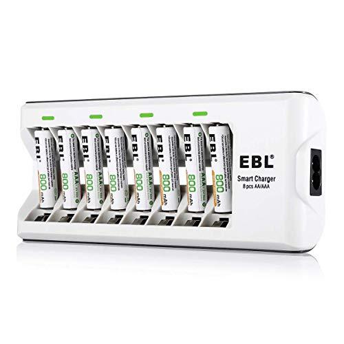 EBL Caricabatterie con 8 Slot per AA e AAA NI-MH Batterie Ricaricabili, Caricatore Intelligente con LED per Pile Ricaricabili,Confezione con 800 mAh AAA Pile Ricaricabili da 8 pezzi