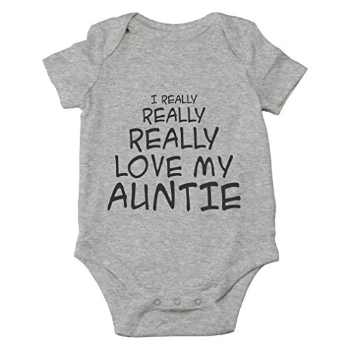 I Really Really Love My Auntie - Best and Coolest Aunt Ever - Cute One-Piece Infant Baby Bodysuit (12 Months, Sports Grey)