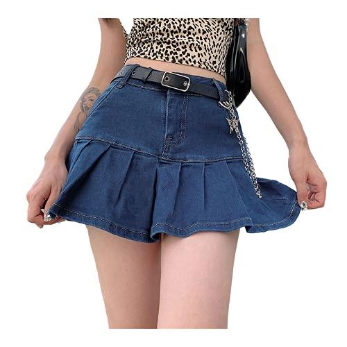 Rosa Denim Faldas Plisadas Mini Sólido Casual Mujer Moda Estilo Coreano Alto