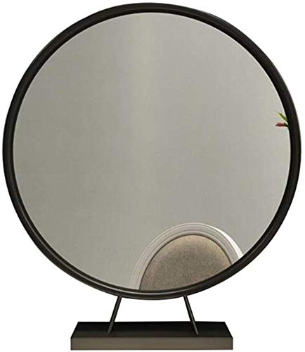 HCMNME Mirror de Maquillaje Cómoda Mesa Redonda Espejo Espejo Espejo de baño Mirror HD Maquillaje Espejo para Dormitorio, o Cuarto de baño Espejo Redondo (Color: Oro, Tamaño: 70 cm)