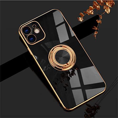 Einaily Funda para iPhone 11 Pro funda protectora ultra fina magnética soporte de coche con anillo de 360 grados soporte para teléfono móvil, carcasa de TPU para iPhone 11 Pro (negro)