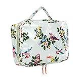Cath Kidston - Bolsa de cosméticos con cremallera para lavar con dos compartimentos con cremallera, diseño de pájaros de primavera en hule suave aguamarina