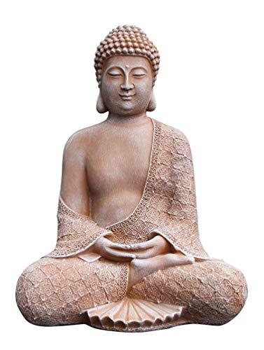 Tiefes Kunsthandwerk Stein-Figur Buddha sitzend in Terrakotta, Statue als Deko für Wohnung, Haus und Garten, Skulptur als Wohnaccessoire oder Geschenk, frostsichere japanische Garten-Figur, Feng Shui