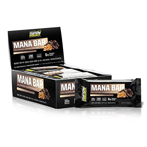 Ryno Power Mana Superfood Chocolate Peanut Butter Box of 12 Bar 600g Brown