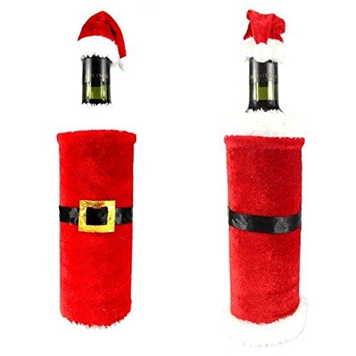 AIDOU 3 bolsas de cubierta de botella de vino de Navidad para decoración de mesa botella de vino tinto reutilizable cubierta de tela de punto decoración del hogar fiesta