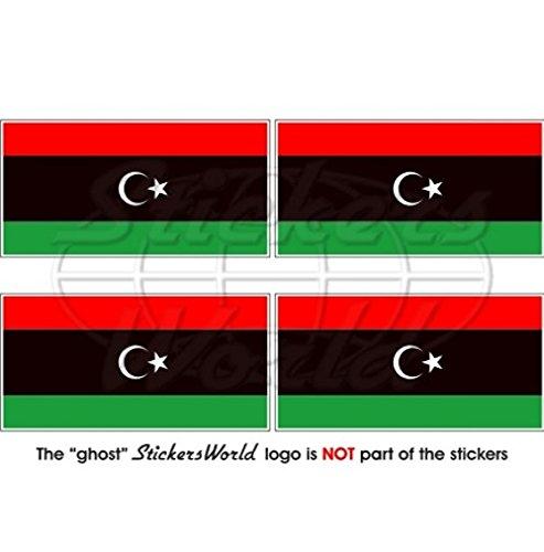 libye Drapeau Libye ancien 5,1 cm (50 mm) bumper-helmet en vinyle autocollants, Stickers x4