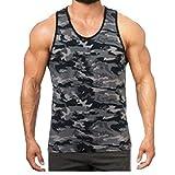 Hiser Homme Débardeur Été, Camouflage Imprimé sans Manches Muscle Tank Top Respirant T-Shirt Sleeveless Débardeurs pour Workout Musculation Exercising (Gris,L)