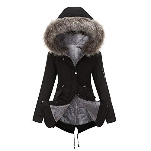 SMTM Damen Jacke Plus Size Pelzkragen Baumwollkleidung Verdickte Baumwolle Mittellang...