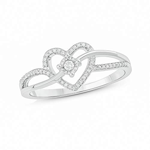 Cali Trove, Sterling Silver with 1/10 cttw white round diamond accent carved on a beautiful criss cross heart promise ring.