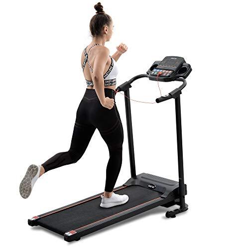 Laufband Elektrisch Klappbar, Laufband 10 km/h - 12km/h, Laufband Für Zuhause Klappbar und LCD-Display, 12 Trainingsprogrammen, MAX 100kg, Manuell 3 Ebenen Kippen