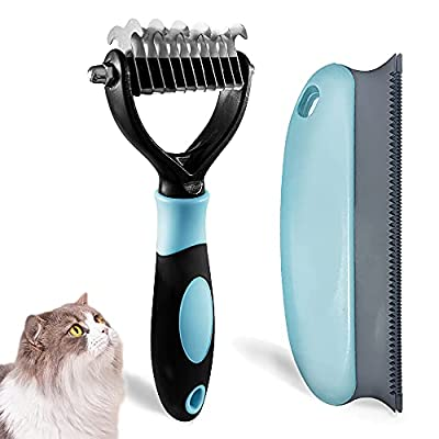 LUKACY Cat Brush for Shedding and Grooming,Undercoat Rake for Dogs,Cat Brush for Long Hair Cats Shedding and Grooming Small Large Medium Poodles Pet Deshedding Comb for Husky(Blue) from LUKACY